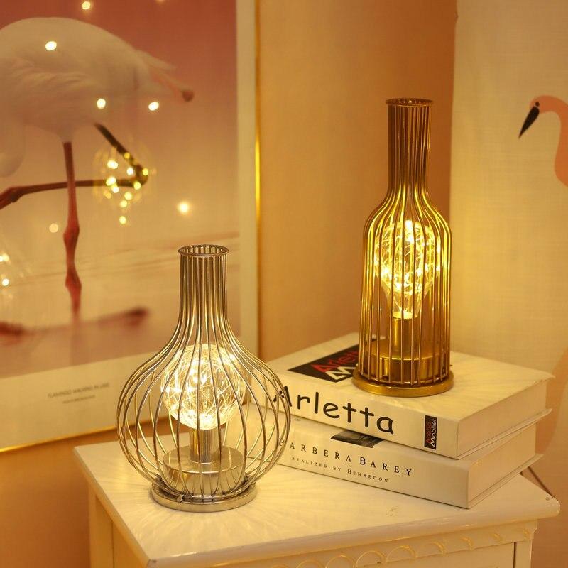 Creative Holiday Retro Iron Art Minimalist Hollow Table Lamps Reading Lamp Night Light Bedroom Desk Lighting Home Decoration