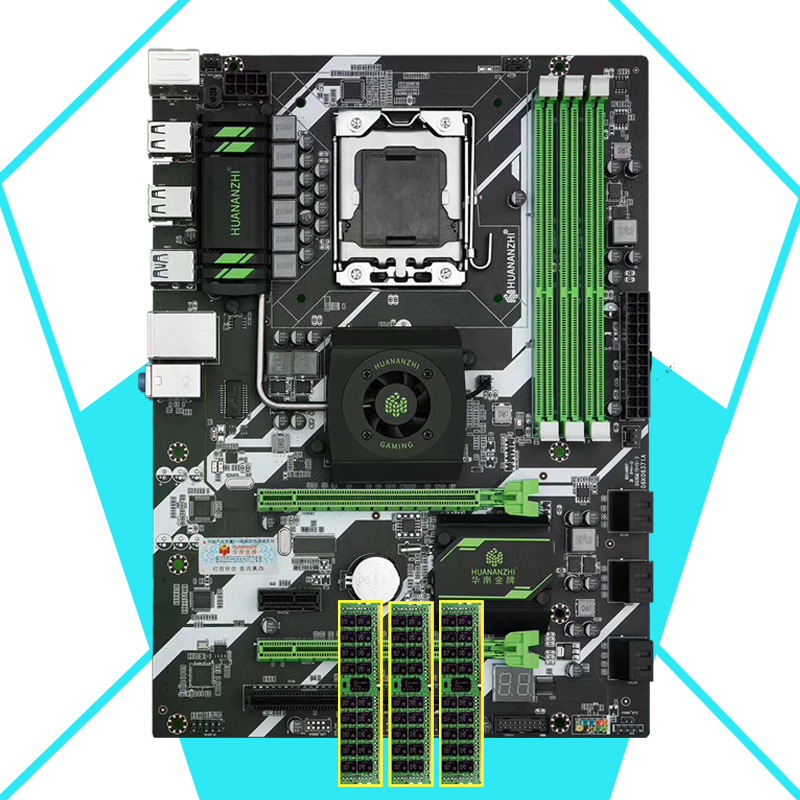 HUANANZHI X58 Deluxe LGA1366 Motherboard Discount HUANANZHI Motherboard With Memory 24G(3*8G) RECC 2 Years Warranty