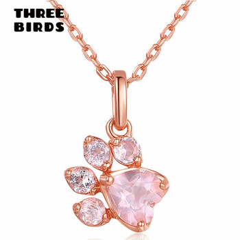 Rose Gold Paw Pink Necklace Footprint Necklace