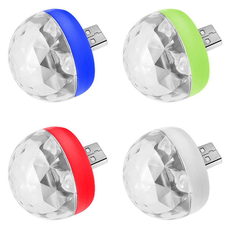Mini USB Led Light Disco Lamps Stage Xmas Party DJ Karaoke Car  Lamp Cellphone Music Control Crystal Magic Ball Colorful Light