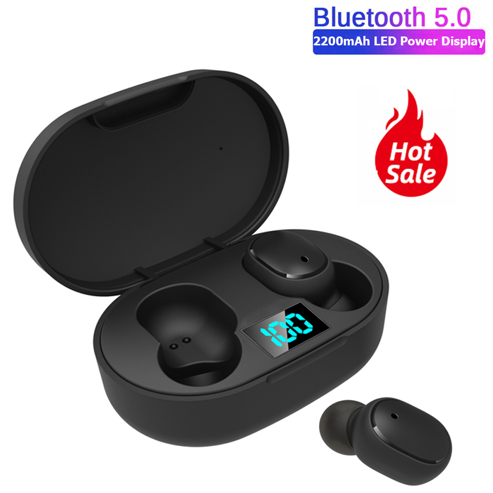 E6S TWS Bluetooth 5.0 Wireless Earphone for Redmi Airdots LED business stereo Headphone mini sport earbuds game Headset PK A6S