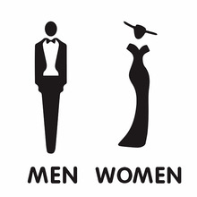 Самоклеющиеся дамы джентльмен акриловые знаки для туалета для отеля, офиса, дома, ресторанной работы(черный