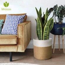 Hand-woven Storage Basket Cotton Rope Art Storage Bucket Simple Desktop Container Home Decoration Garden Flower Pot Planter