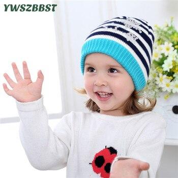 New Fashion Crochet Autumn Hot stamping stripe Baby Cap Knitted Winter Hat Warm Girls