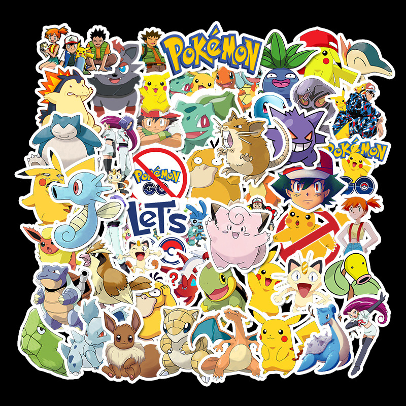 50pcs/set Game Pokemon Go Stickers Cosplay Prop Accessories Pikachu PVC Decal Waterproof Cartoon Collect Sticker