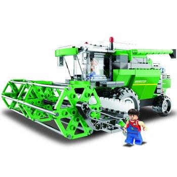 Legoinglys, granja técnica de ingeniería urbana, cosechadora combinada de vehículos, bloques de construcción, figuras de granjero, juguete para niños en STOCK