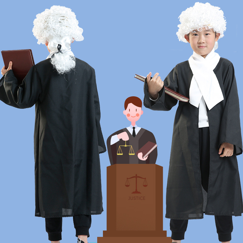 Mens High Court Judge Gown Cloak Barrister Lawyer Fancy Dress Costume