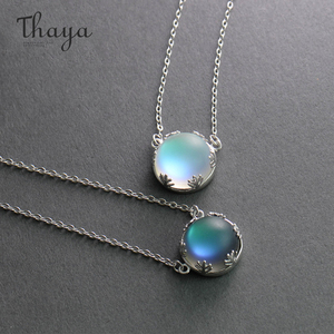 Image 2 - Thaya 45cm Crystal Gemstone s925 Silver Aurora Necklace Halo Scale Light Forest Women Pendant Necklace for Girl Elegant Jewelry
