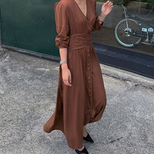 Korean Linen Long Dress 2019 Autumn Office Retro Plain Buttons Girdle Pleated A Line Dresses Ladies Black High Waist Maxi Robe(China)