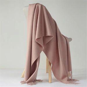 Image 2 - Luna&Dolphin Desinger Brand Women Pure Wool Scarf Solid Color Winter Ladies Pashmina Tassel Big Shawl Wrap Thicken Blanket Scarf