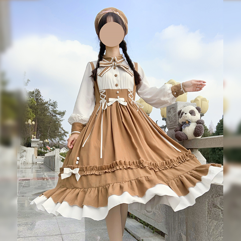 Sweet Princess Lolita Dress Vintage Lace Bowknot Peter Pan Collar High Waist Victorian Dress Kawaii Girl Gothic Lolita Jsk Loli