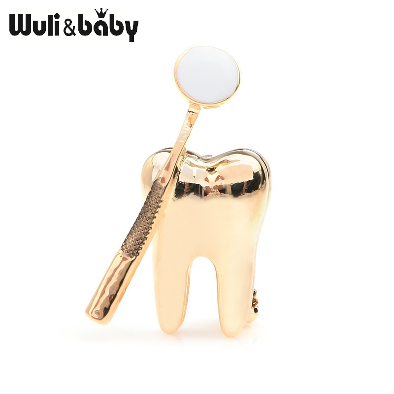 Wuli&baby Gold Silver Color Dental Mirror Brooches Women Men Personality Style Doctor Dentist Uniform Brooch Pins Gifts 1