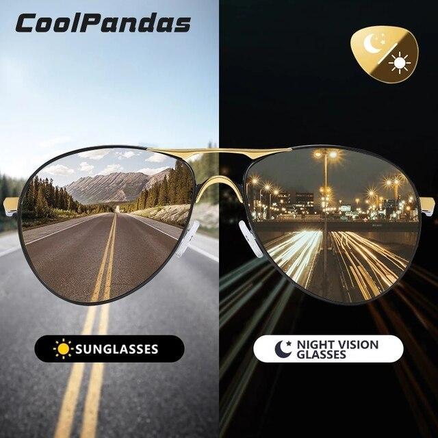 Coolpandas Top Kwaliteit Luchtvaart Mannen Zonnebril Gepolariseerde Rijden Meekleurende Dag Nachtzicht Goggle Pilot Bril Vrouwen UV400