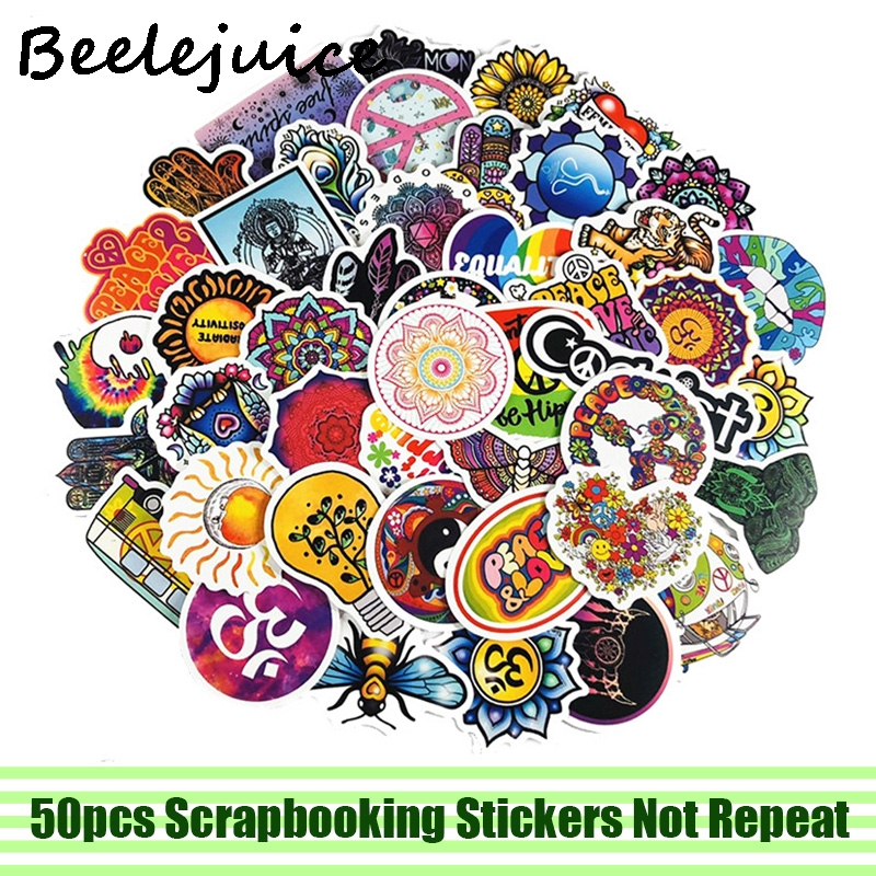 50pcs Love and Peace Hippie Stickers decal scrapbooking diy pasters home decoration phone laptop waterproof cartoon accessories