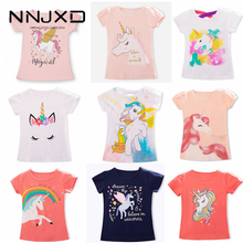 Unicorn T-Shirt Tops Tees Short-Sleeves Girls Clothes Baby White Boys Kids Fashion Children