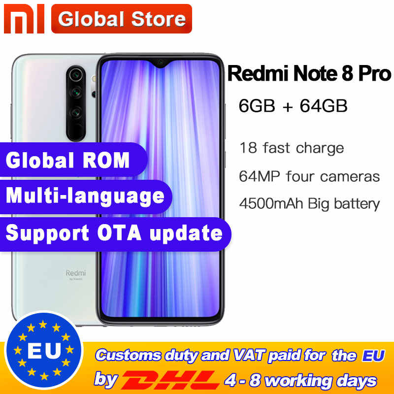 "Global Rom Originele Xiaomi Redmi Note 8 Pro 6Gb 64Gb Mtk Helio G90T Smartphone 6.53 ""64MP Quad achter Camera 4500Mah Batterij"