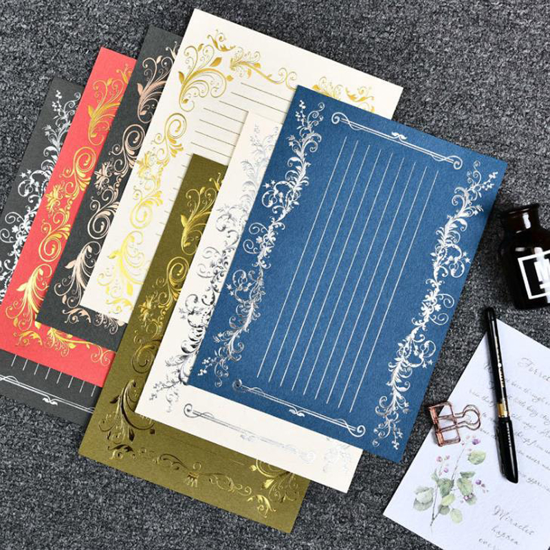 3 Pcs/pack Vintage European Style Gilding Silver Letter Papers Set Stationery Wedding Invitation Card Writing Pad Letter Gifts