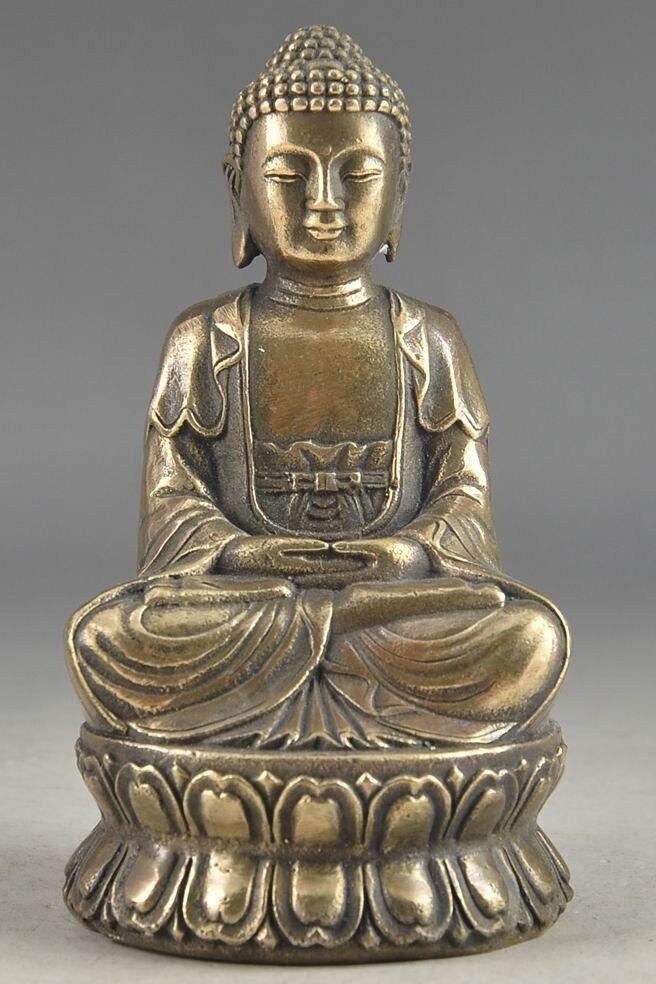 Coleccionable de latón chino, martillado a mano, estatua antigua de buda, estatua de metal, artesanía.