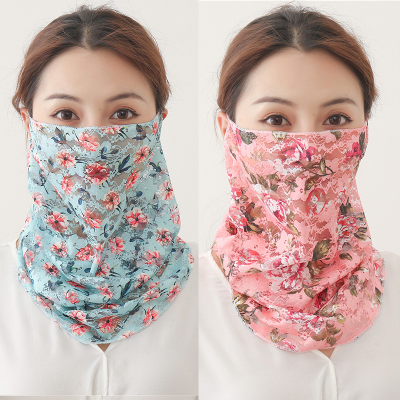 Summer Face Scarf For Women  Sunscreen Ring Neck Scarves Foulard Bandana Floral Print Lady Shawls Head Wraps Face Cover