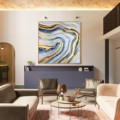 Modern Abstract Gold Navy Blue River like Hand Painting On Canvas Large Original Acrylic texture Wall Art Living room Home decor