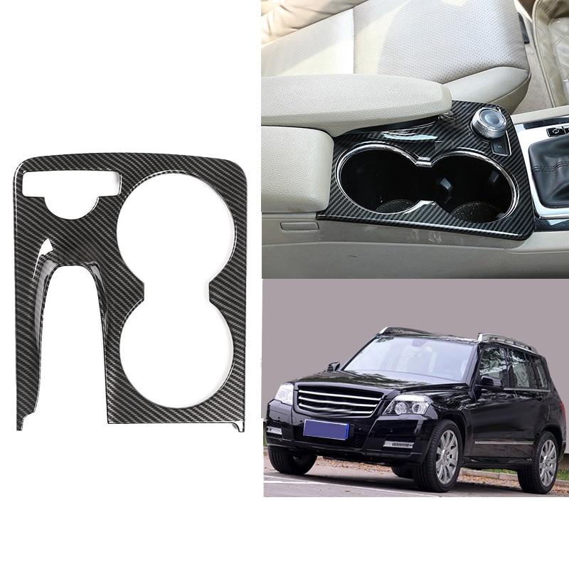 Araba konsolu su bardağı tutucu kapak Trim karbon Fiber için Mercedes Benz Glk X204 2008 2009 2010 2011 2012 2013 2014 2015 çıkartmalar