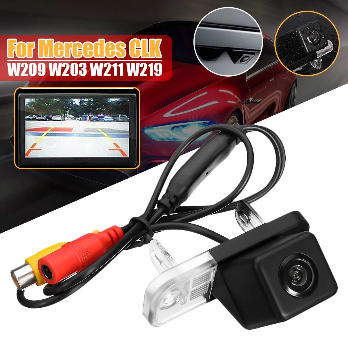 CCD HD Auto Car Rear View Camera Reverse Parking Night Vision Waterproof for Mercedes Benz CLK W209 W203 E Class W211 W219
