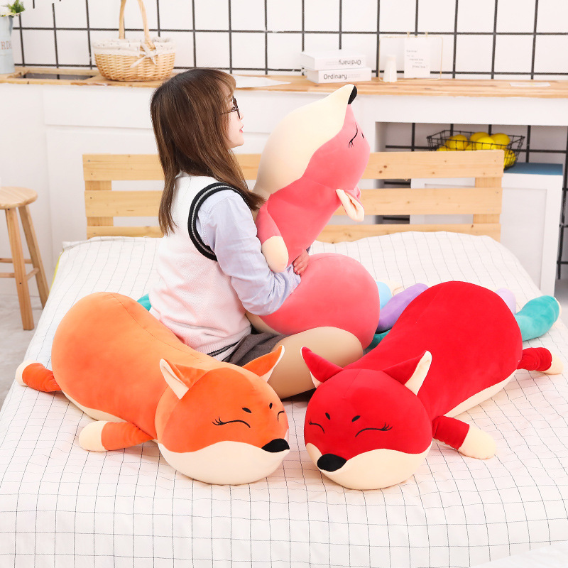 100cm 140cm Giant Kawaii Dolls Stuffed Animals Plush Toys for Girls Children Boys Toys Plush Pillow Fox Soft Toy Doll  - buy with discount