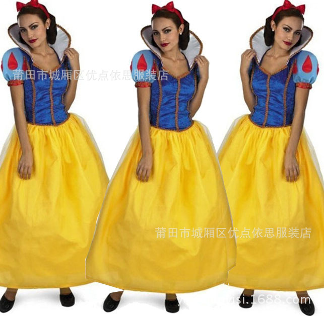 Halloween Cosplay Clothing Adult Mask Ball Costume Queen Dressing Up Adult Snow White Princess Dress