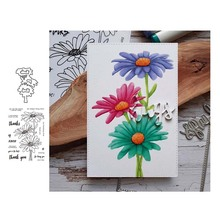 Sunflower Phrase Metal Cutting Dies and Clear Stamps for DIY Scrapbooking Card Dies Cut Stencils Paper Crafts Photo Album Decor merry christmas trees sticker painting stencils for diy scrapbooking stamps home decor paper card template decoration album