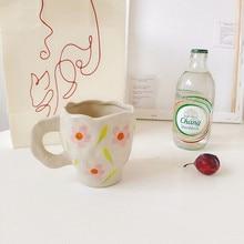 CuteLife Nordic White Flower Ceramic Coffee Cup Kitchen Milk Tea Drinkware Breakfast Cup Porcelain Vintage Couple Gifts Cute Mug