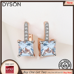 925 Sterling Silver Gemstone Earrings Created Blue Topaz For Women Anniversary Gift Luxury Elegant Fine Jewelry Rose Gold Plated
