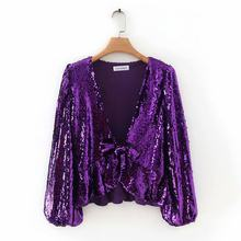 YD55 knot - 9069 European and American fashion decoration sequins v-neck blouse(China)