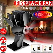 5 Blade Black Fireplace Fan Heat Powered Stove Fan komin Log Wood Burner Eco Friendly Quiet Fan Home Efficient Heat Distribution