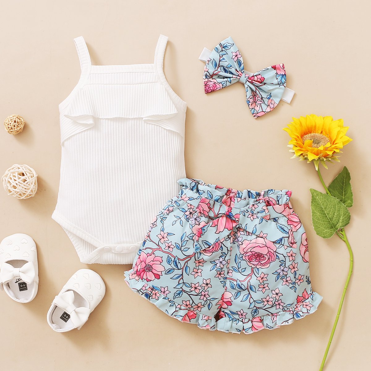 3Pcs Newborn Baby Girls Summer Clothes Cute Beach Boho Strap Ruffle Romper Floral Shorts Toddler Outfit Baby Girls Clothing 5