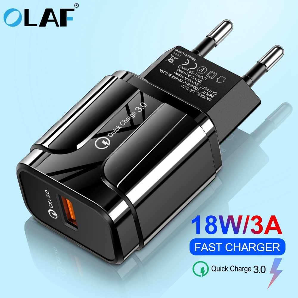 Olaf Mobile Phone Charger Charge Cepat QC 3.0 4.0 18W Fast Charger Uni Eropa US Adaptor Steker Dinding USB Charger untuk Iphone Samsung Xiaomi
