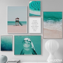 Sea Dolphin Beach Fish Scenery Canvas Painting Wall Pictures for Living Room Modern Home Decoration Nordic Posters and Prints