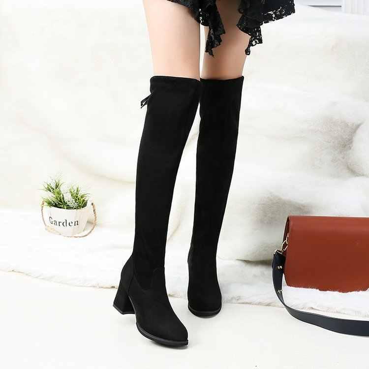 Plus Size41 42 Mới Phụ Nữ Trên Đầu Gối Giày Phối Ren Thời Trang Gợi Cảm Giày Cao Gót Nữ Giày Nữ Phối Ren Mùa Đông da Lộn Giày Da Ấm Áp