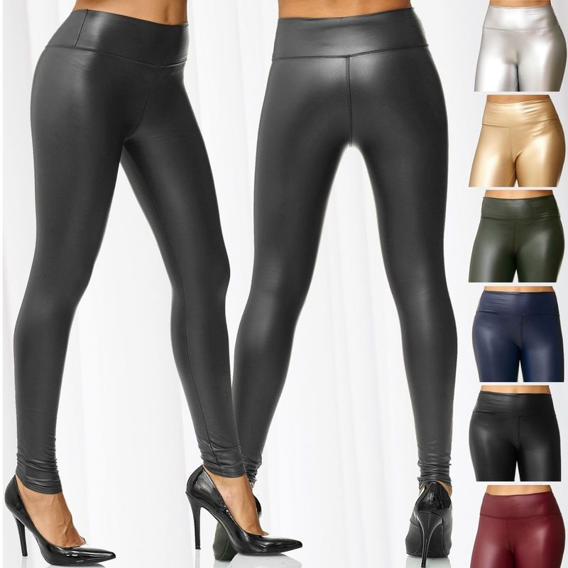 ZOGAA 2020 Women's PU Leggings Metallic PU Leather High Waist Wet Stretch Shine Pants Solid Slim Sexy Trousers Pencil Sexy Pants