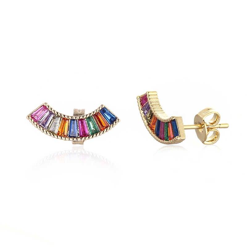 Damskie złoto cz rainbow stud kolczyk kolorowe kolczyki kryształowe serce oko kolczyk rainbow prezent akcesoria biżuteryjne dla kobiet