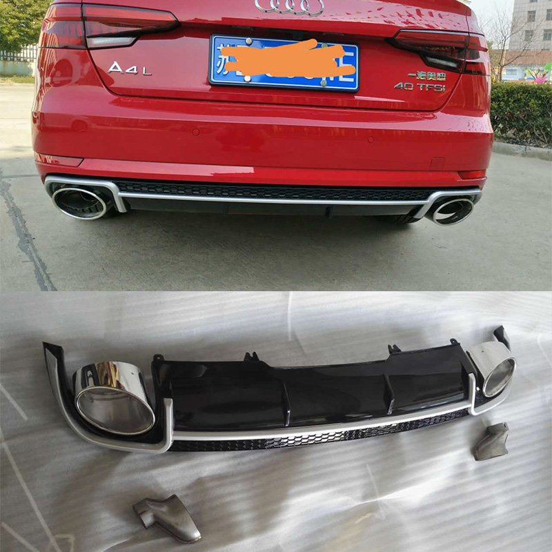 A4 B9 Rear Bumper Lip Diffuser With Exhaust Muffler Pipe for Audi A4 2016UP Standard Bumper Not avant & allroad image