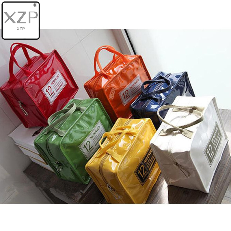 XZP 1 Pc Portable PU Lunch Bags Leather Waterproof Food Picnic Lunch Box Bag Insulated Women Cooler Bags Dropshipping