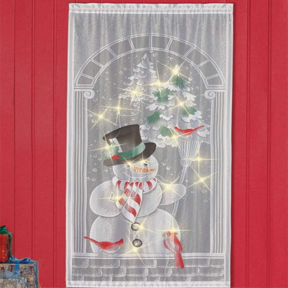 Christmas Curtains 20LEDS Christmas LED Curtains Living Room Wall Curtains Lace Drop Light Window Snowman Christmas LED Curtains