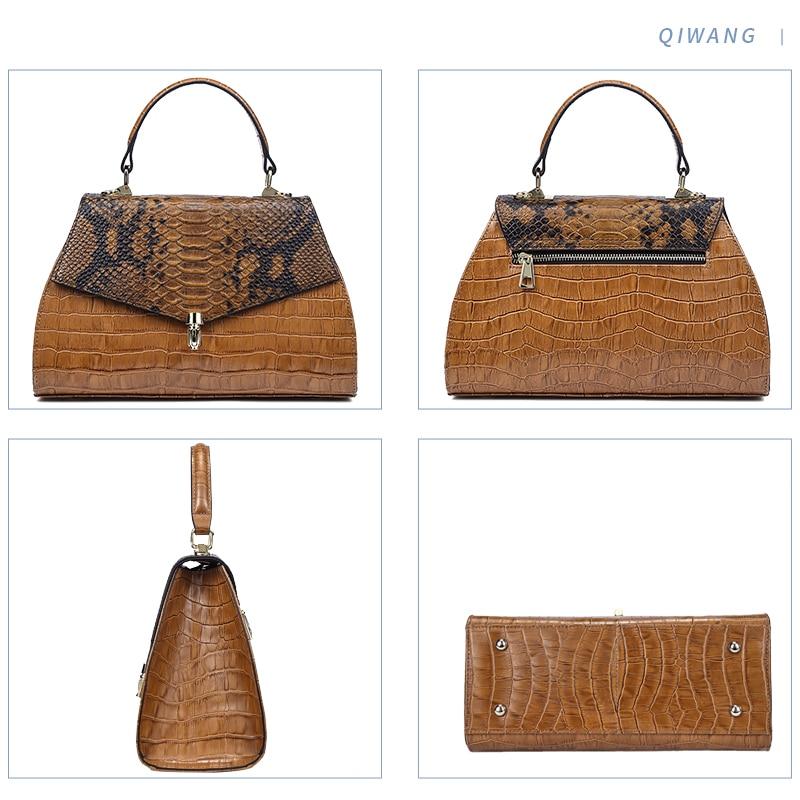 Qiwang élégant sacs à main pour femmes sacs à poignée supérieure en relief en cuir véritable Desinger dame sac à main 2019 marron fourre tout sacs à bandoulière - 3