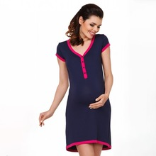 Pregnant Woman Dress Sexy pregnant V-neck breastfeeding loose solid color short-sleeved dress dress sexy woman dress