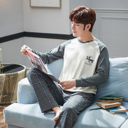 2020 Spring Long Sleeve Cotton Pajamas Set Mens Casual Comfortable Home Wear Can Wear Medium Thick
