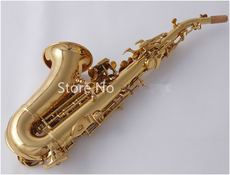 high quality SC W010 Small Curved Soprano Saxophone Electrophoresis Gold Sax B Flat Instruments with Accessories Case Free Ship - 2