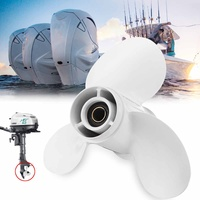 Outboard Propeller 683 45943 00 EL 9 1/4 x 10 1/2 White For Yamaha 9.9 20HP Aluminum Alloy R Rotation 3 Blades 8 Spline Tooths