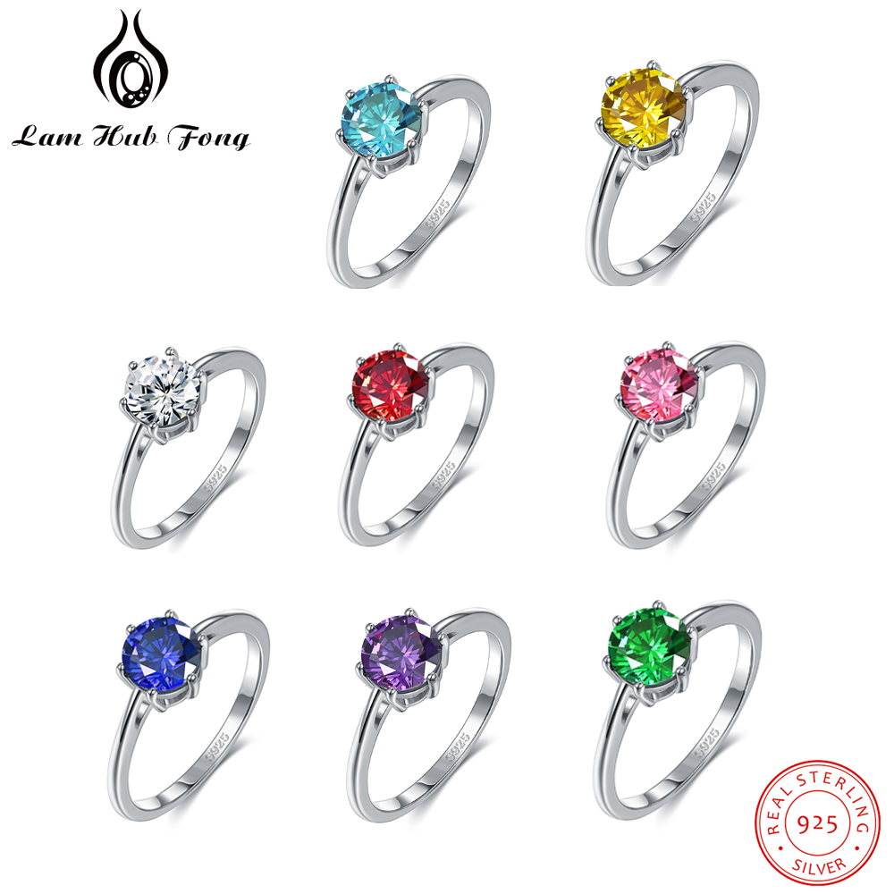 Authentic 100% 925 Sterling Silver Rings Rainbow Color CZ Finger Rings Fine Jewelry Wedding Gift For Women Girls (Lam Hub Fong)