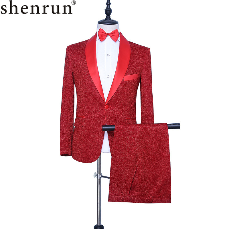 Shenrun Men's Red Tuxedo Slim Fit Fashion Groom Suit Jacket Pants Singer Drummer Host Party Prom Stage Costume Night Club Suits