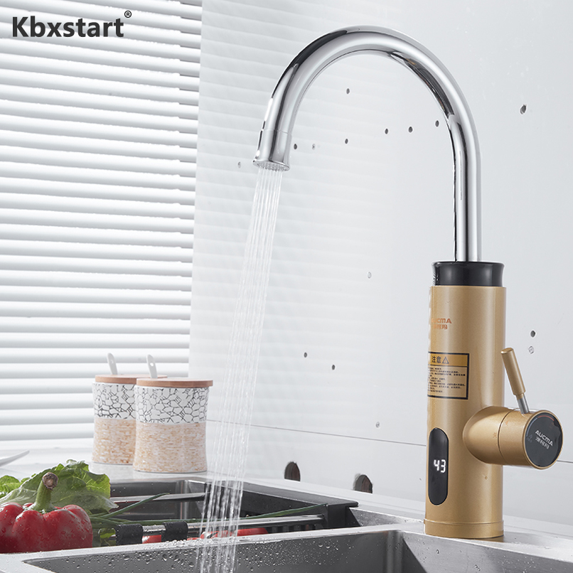 Kbxstart Electric Hot Water Faucet Kitchen Instant Water Heater Tap 3000W Heater Cold Heating Faucet Tankless Water Heater